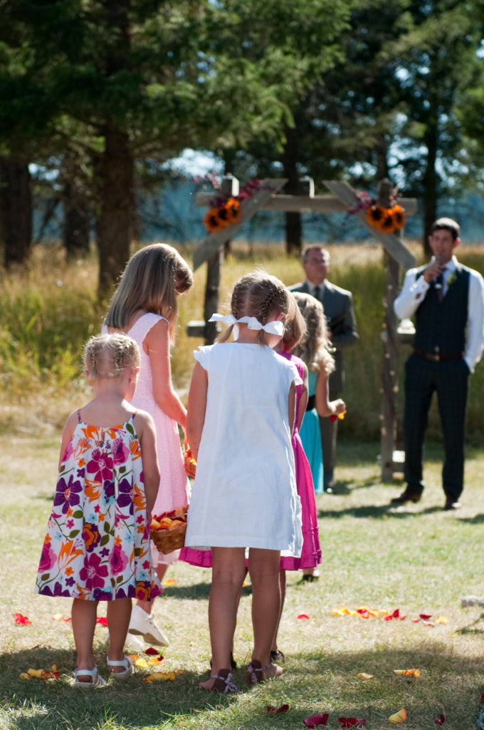 Flower girls at Lake Koocanusa wedding by Three Strands Wedding Design