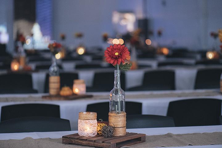 Fall wedding reception.