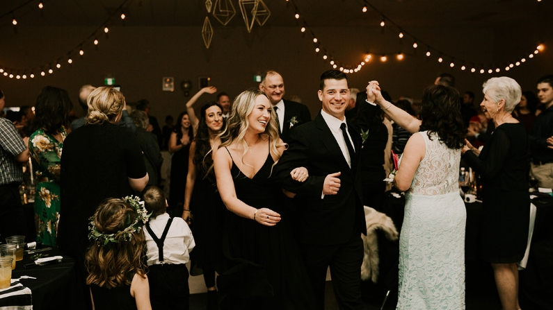 Swift Current New Year's Eve wedding with geometric DIY decor.  Click through to threestrands.ca to see more!